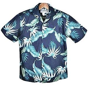 アロハシャツ メンズ ハワイ製 ネイビー/バイスブルー葉柄 コットン KY'S (US XLサイズ)