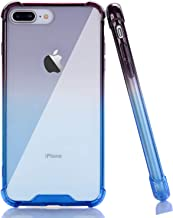 BAISRKE Clear Case for iPhone 7 Plus, Slim Shock Absorption Protective Case Soft TPU Bumper & Hard Plastic Back Cover Phone Cases for iPhone 7 Plus / 8 Plus 5.5 inch - Black Blue Gradient