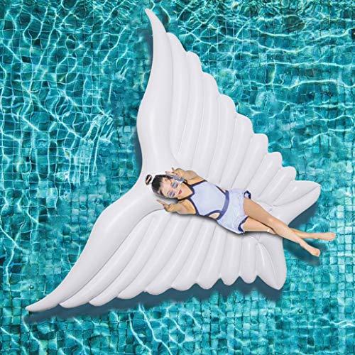 Pool Toy Hinchable Colchonetas Mariposa Gigante Alas De ángel Inflable Piscina De Aire Blanco Tumbona Fiesta De Agua Juguete Montar En El Anillo De Natación 250 * 180 Cm White-250 * 180cm