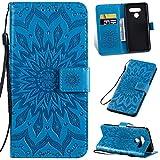 KKEIKO Hülle für LG Q60, PU Leder Brieftasche Schutzhülle Klapphülle, Sun Blumen Design Stoßfest Handyhülle für LG Q60 - Blau