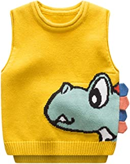 Achiyi Baby Infant Toddler Boys Dinosaur Vest Thermal Warm Cotton Breathable Knit Sleeveless Sweater Cute Waistcoat Outfit