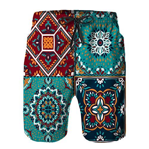 ZHIMI Pantalones Cortos De Playa para Hombres,patrón de Talavera Mosaico Indio Azulejos Portugal,Pantalones De Chándal De Secado Rápido, Bañador De Verano para Ejercicios Al Aire Libre M