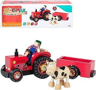 WOOMAX- Tractor de madera 33 cm (Color Baby 43621)