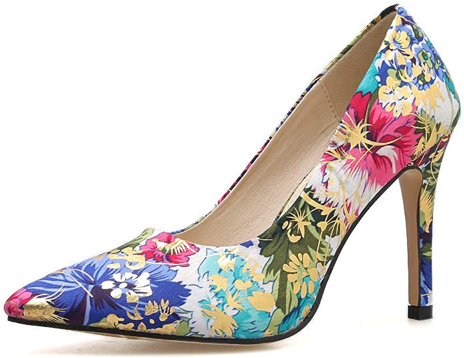 Women Floral Print High Heel 10 cm Pointed Toe Stiletto Dress Wedding Party Pumps shoes