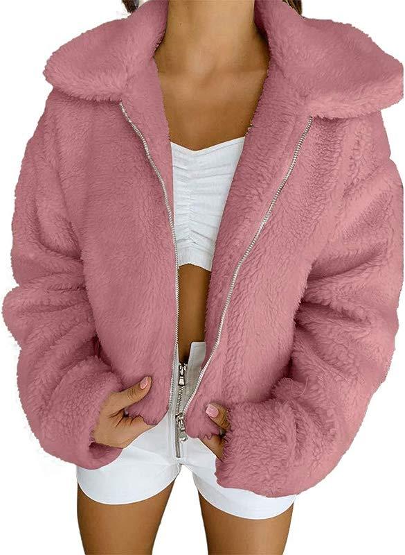 Redacel Women Girl Winter Warm Solid Color Faux Fur Coat Winter Outwear Fluffy Sweatshirt