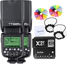 Godox 2pcs TT685C E-TTL II GN60 2.4GHz Wireless HSS 1/8000s Flash Speedlite with X2T-C Wireless Flash Trigger Transmitter Compatible for Canon EOS Series Cameras