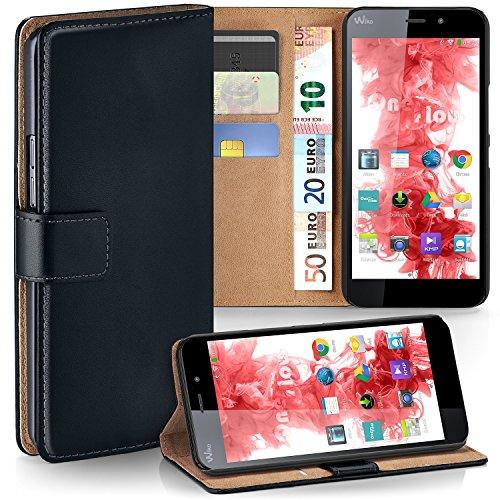 MoEx Premium Book-Hülle Handytasche passend für Wiko Pulp Fab 4G | Handyhülle mit Kartenfach & Ständer - 360 Grad Schutz Handy Tasche, Schwarz