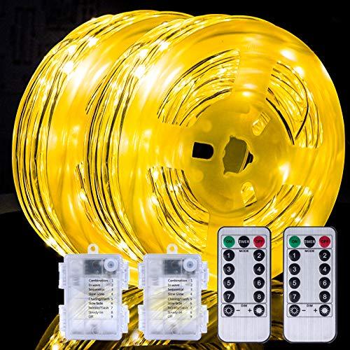 Lichtschlauch, 2 Stück 150 LEDS 15M Lichterkette außen mit Fernbedienung, 8 Modi & Timer, Helligkeit Dimmbar, Lichterschlauch IP68 Wasserdicht, Led Schlauch für Aussen Party Hochzeit Deko Zuhause
