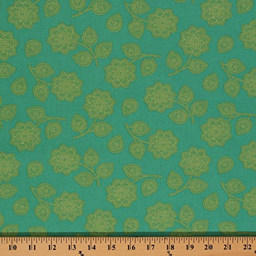 Cotton Tula Pink Eden Coordinate Henna Flowers Paisley Aqua Cotton Fabric Print by The Yard (PWTP074.Aqua)