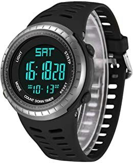 Mens Digital Sport Watch, Military Black Watches, Army Electronic Casual Wristwatch Luminous Calendar Stopwatch Alarm EL Backlight Waterproof Running Diving Swimming