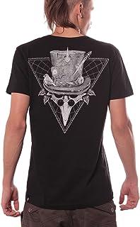 Birdman Gang Crew Neck Top - 100% Black Cotton Regular Fit Print T-Shirt for Men