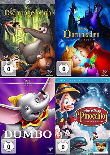Walt Disney Collection 3 | Das Dschungelbuch - Diamond Edition + Dornröschen - Diamond Edition + Dumbo + Pinocchio - Platinum Edition [5-DVD]