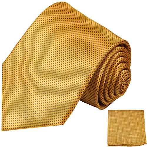 Paul Malone Krawatten Set 2tlg 100% Seidenkrawatte gold braun + Seiden-Einstecktuch