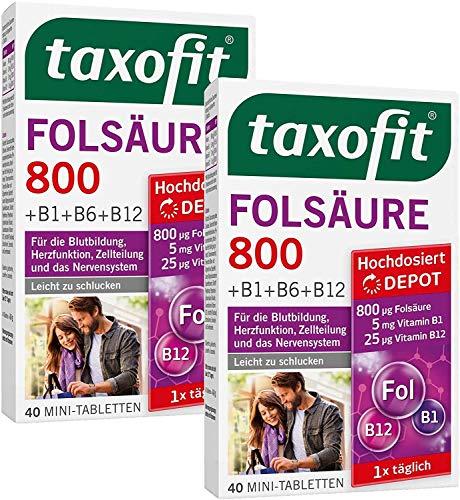 taxofit® Folsäure 800 Depot 2x 40 Mini-Tabletten für die Blutbildung, Herzfunktion, Zellteilung und das Nervensystem