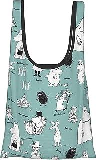 Moomin 【大容量Up&折叠&防水】环保袋 手提包 收银袋 便利店包 购物 轻量 可爱 时尚 女士 人气 卡通人物 购物40x65cm