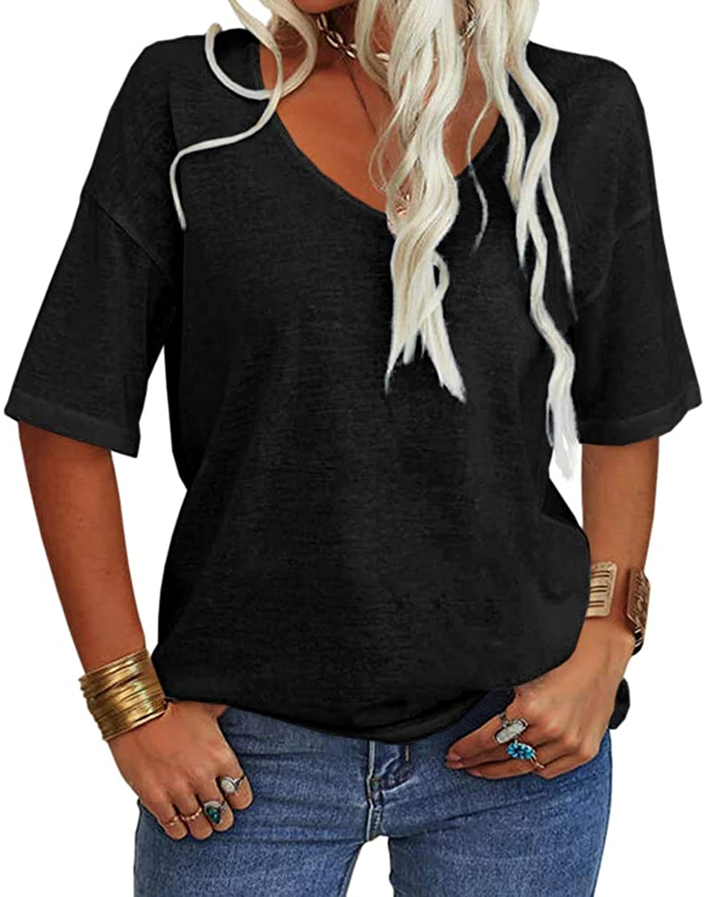 Danedvi Women Fashion Japan's largest assortment V-Neck Half Sleeves 100% quality warranty! L Solid T Shirt Casual