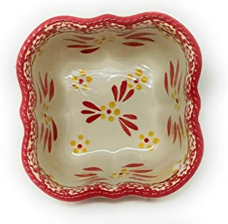 Temp-tations Sculpted 1.5 Qt Serving Bowl / Dish with Lid-It (Tray) (NO Plastic Cover) (Old World Red)