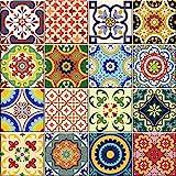 Backsplash Pegatinas para azulejos, 24 unidades, auténticos azulejos de Talavera tradicionales,...