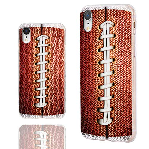 iPhone XR Case Cute,ChiChiC 360 Full Protective Shockproof Thin Slim Flexible Soft TPU Clear Case Cover with Cool Design for iPhone XR 6.1,Funny Brown Football