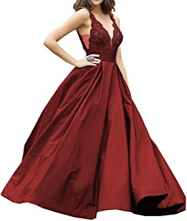 Women's V-Neck Straps Taffeta Long Prom Dresses A-line Lace Beaded Formal Evening Party Gown