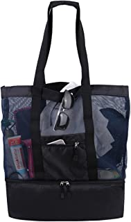 Mesh Beach Tote Bag with Zippers Top Insulated Picnic Cooler Large Travel Bag