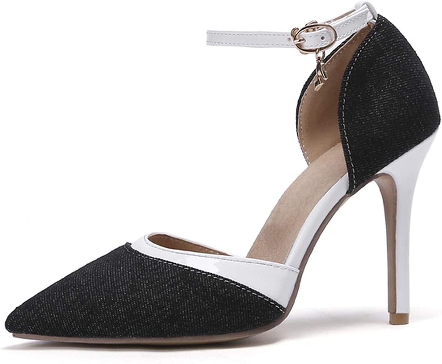 2019 New Ankle Strap Women Pumps Pointed Toe Stiletto high Heels Wedding shoes Woman Drop Ship,Black,11