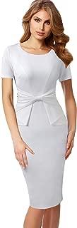 Womens Pleated Bow Wear to Work Business Office Church Sheath Dress