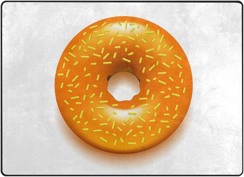 FAJRO gold Donut with Candy Polyester Entry Way Doormat Area Rug Multipattern Door Mat Floor Mats shoes Scraper Home Dec Anti-Slip Indoor Outdoor