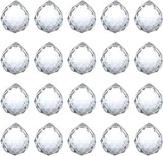 KARSLORA 20mm Clear Glass Crystal Ball Prism Feng Shui Lamp Hanging Drop Chandelier Pendants Suncatchers, Pack of 20