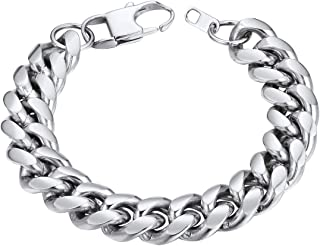 ChainsHouse Men Women Cuban Link Bracelet Stainless Steel/18K Gold Plated Classic 3mm-14mm Wide Miami Curb Chain Wrist Bra...