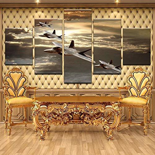 JJJKK Quadri Stampa Pannello Pittura 5 Pezzi Astratto Stampa Decorativa su Tela Aereo da Caccia F-22 Raptor Quadri Sono montati su telai di Vero Legno .Stampa Artistica