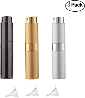 8ml Twist-Up Perfume Spray Bottles,Empty Spray Perfume Bottle,Portable Refillable Perfume Sprayer Atomizer with 3 Funnel Fillers (3-Pack)
