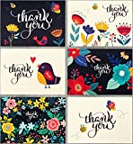 Spark Ink 36 Floral Thank You Cards with Envelopes, Elegant Thank You Notes, Blank Inside, Perfect for Wedding, Baby & Bridal Shower, Navy Blue & Ivory, 4x6 Photo Size - Bulk Stationary Set