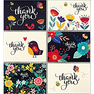 Spark Ink 36 Floral Thank You Cards with Envelopes, Elegant Thank You Notes, Blank Inside, Perfect for Wedding, Baby & Bridal Shower, Navy Blue & Ivory, 4×6 Photo Size – Bulk Stationary Set