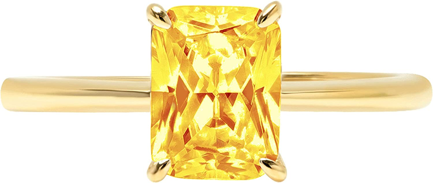 0.9ct Brilliant Radiant Cut Solitaire Natural Yellow Citrine Ideal VVS1 4-Prong Engagement Wedding Bridal Promise Anniversary Ring Solid 14k Yellow Gold for Women