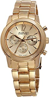 August Steiner Women's Swiss Fashion Watch - Day of Week, Date, and 24 Hour Subdial on Yellow Gold ToneStainless Steel Oys...