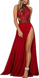 Mujer Vestidos De Fiesta Largos De Noche Elegantes Transparentes Encaje Splicing Sin Niñas Ropa Mangas Sin Espalda Talle Alto con Aberturas Vestido Largo Vestidos Coctel
