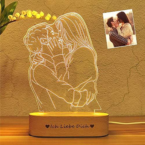 lámpara 3d personalizada tu propio diseño Grabado fotográfico con lámpara 3D 3 colores texto foto USB DIY Luz de noche lámpara de noche, con foto y texto el mejor regalo Valentín