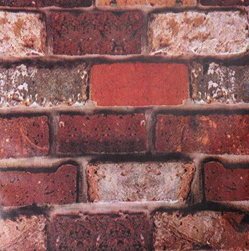 SICOHOME Wallpaper,11 Yard Rust Brick Peel Stick Wallpaper