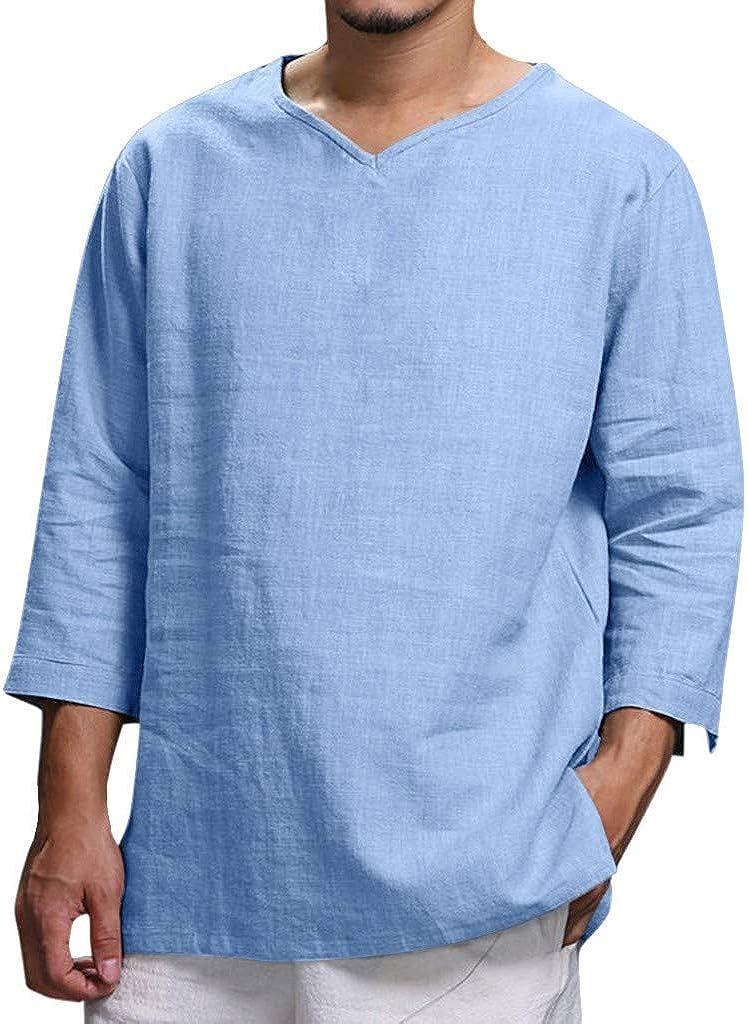 Men's Summer T-Shirt Cotton Hippie Shirt V-Neck Beach Yoga Top Lace up Linen Collar Long Sleeve Henley T-Shirt