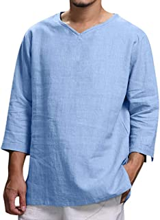 Comfortable Fashion Blouse Top Men's Summer New Pure Cotton And Hemp Top