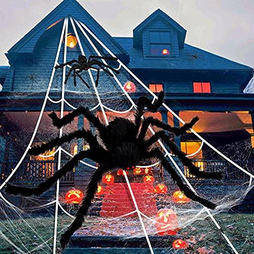 Halloween Spinne und Spinnennetz Deko Set, 5m Triangel Spinnennetz, 125cm Gruselige Riesenspinne, 50g Superstretch Spinnwebe und 10 Kleine Plastikspinnen, für Party Indoor Outdoor Gartendekoration