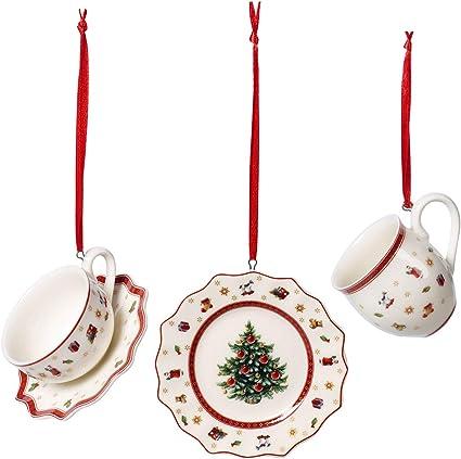 multicolore Villeroy /& Boch Nostalgic Ornaments lot de 3 ornements cadeaux tra/îneau et hotte comme suspensions pour sapin en porcelaine dure bottes