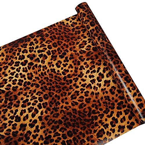 SimpleLife4U Sexy Leopard Print Self-Adhesive Shelf Drawer Liner Moisture Proof PVC Mat 45x300cm
