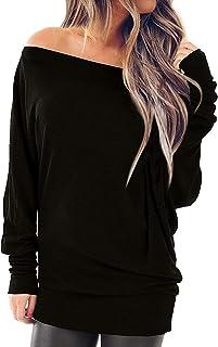 YOTGAP Women's Off Shoulder Shirts Long Sleeve Tees Tunics Loose Solid Blouses Tops Black Large