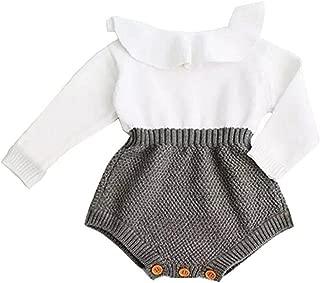 Eiffel Direct Baby Girls Sweet Knitted Fleece Romper Long Sleeve Ruffle Jumpsuit Sweater Dress