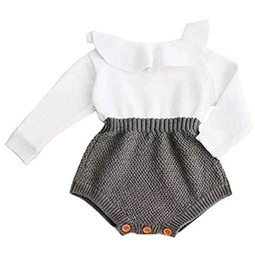 060b41cc3a4 Eiffel Direct Baby Girls Sweet Knitted Fleece Romper Long Sleeve Ruffle  Jumpsuit Sweater Dress