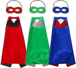 Capa y Máscaraspara Fiesta cumpleaños Navidad Escolares Juguetes Capa de superhéroeDisfraces de Halloween para Niño Niña Cosplay - 3 Capa y 5 Máscaras