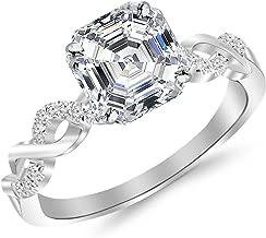 0.63 Carat Twisting Infinity Gold and Diamond Split Shank Pave Set Asscher Cut Diamond Engagement Ring (G-H Color VS2 Clarity Center Stones)