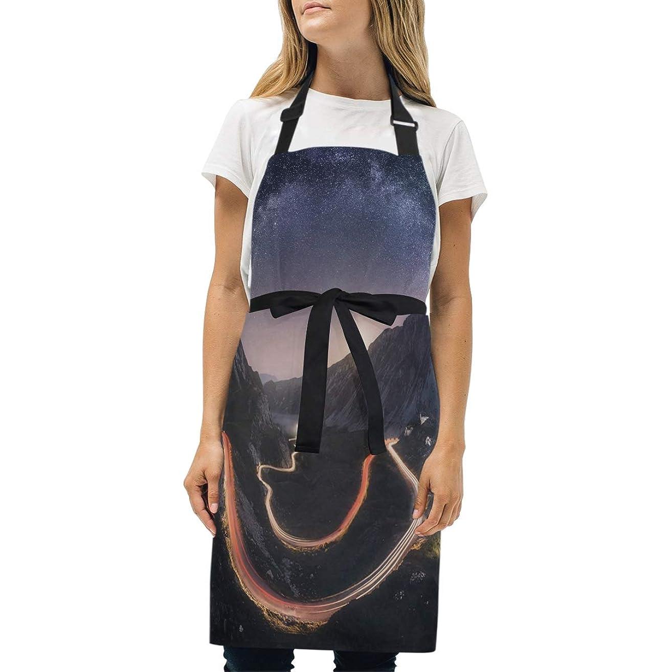HJudge Womens Aprons Landscape Lights Italy Kitchen Bib Aprons with Pockets Adjustable Buckle on Neck